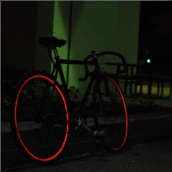 Reflective wheel striping red