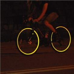 Reflective wheel striping yellow