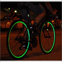 Reflective wheel striping green