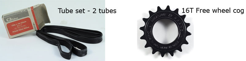 Tube set and free wheel cog